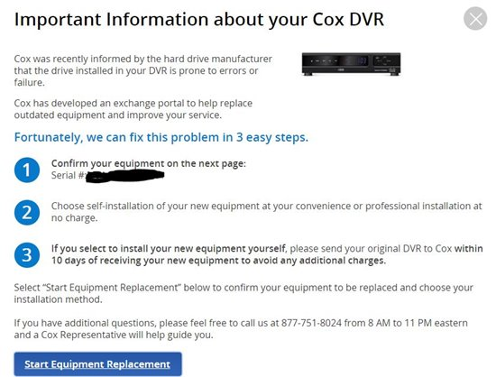 Message to replace my DVR - TV - TV Forum - Cox Support Forums
